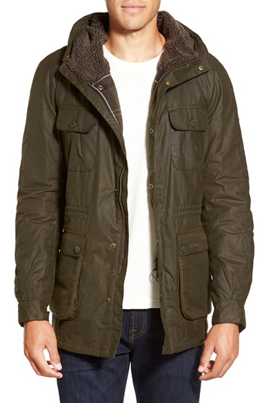 Barbour 'brindle' Slim Fit Waxed Parka in Green for Men | Lyst
