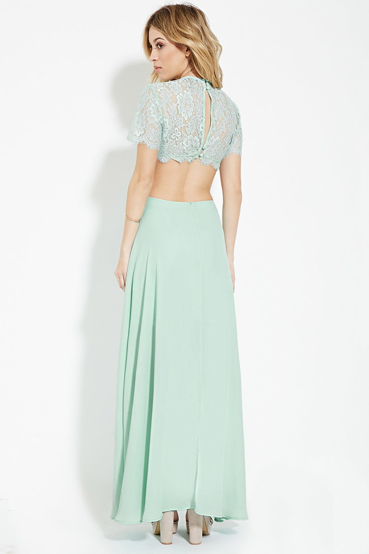 Forever 21 Cutout Lace-paneled Maxi Dress in Blue | Lyst
