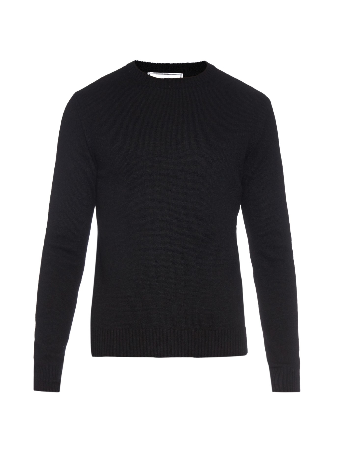 Ami Crew-neck Wool-knit Sweater in Black for Men | Lyst