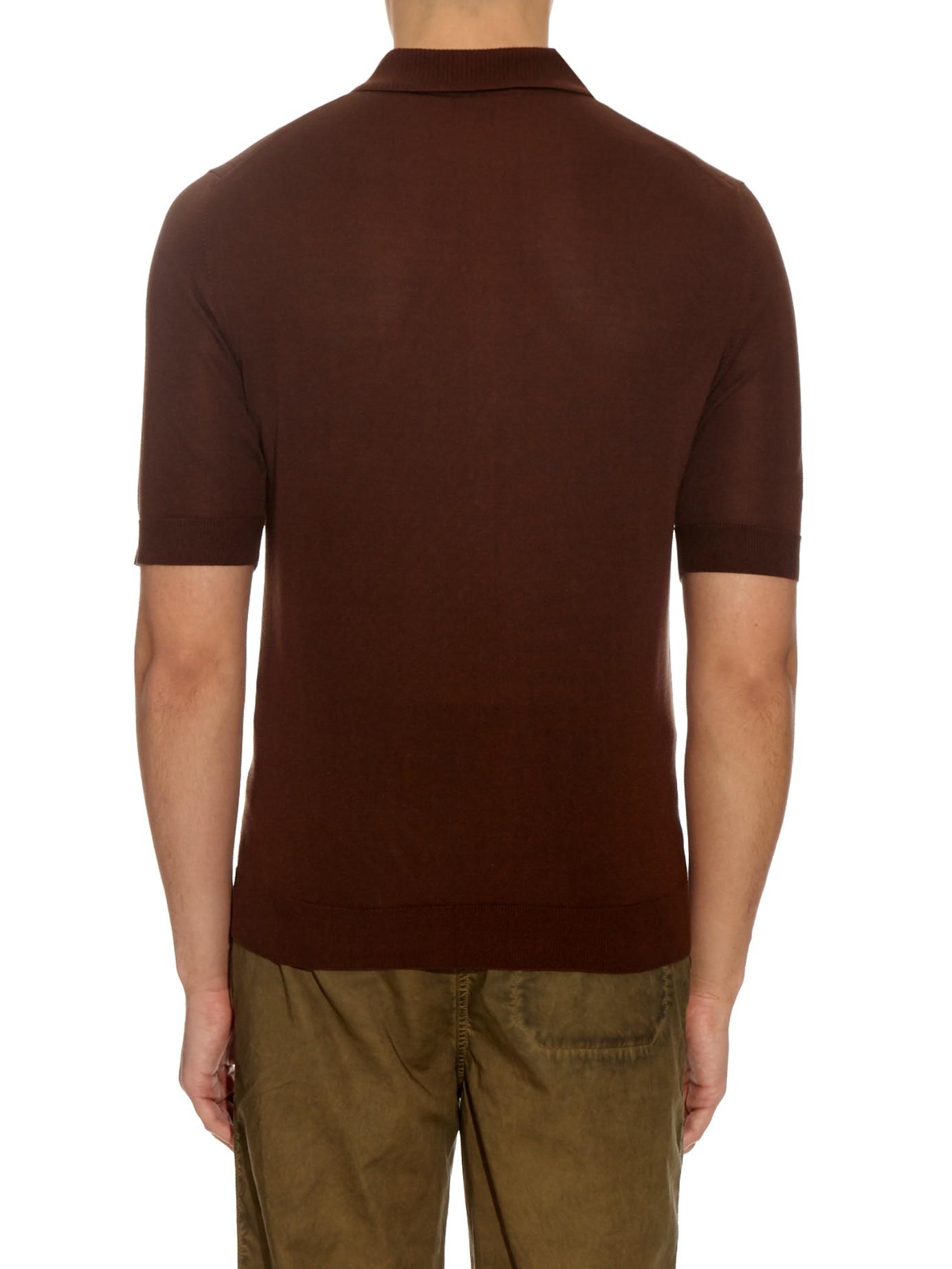 Burberry Prorsum Short Sleeved Silk Knit Polo Shirt In