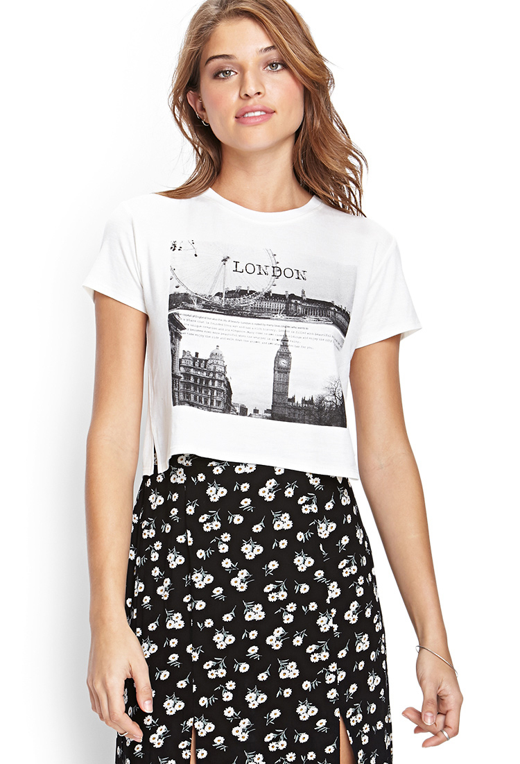 Nada Mobile App >> Forever 21 London Graphic Tee in White | Lyst
