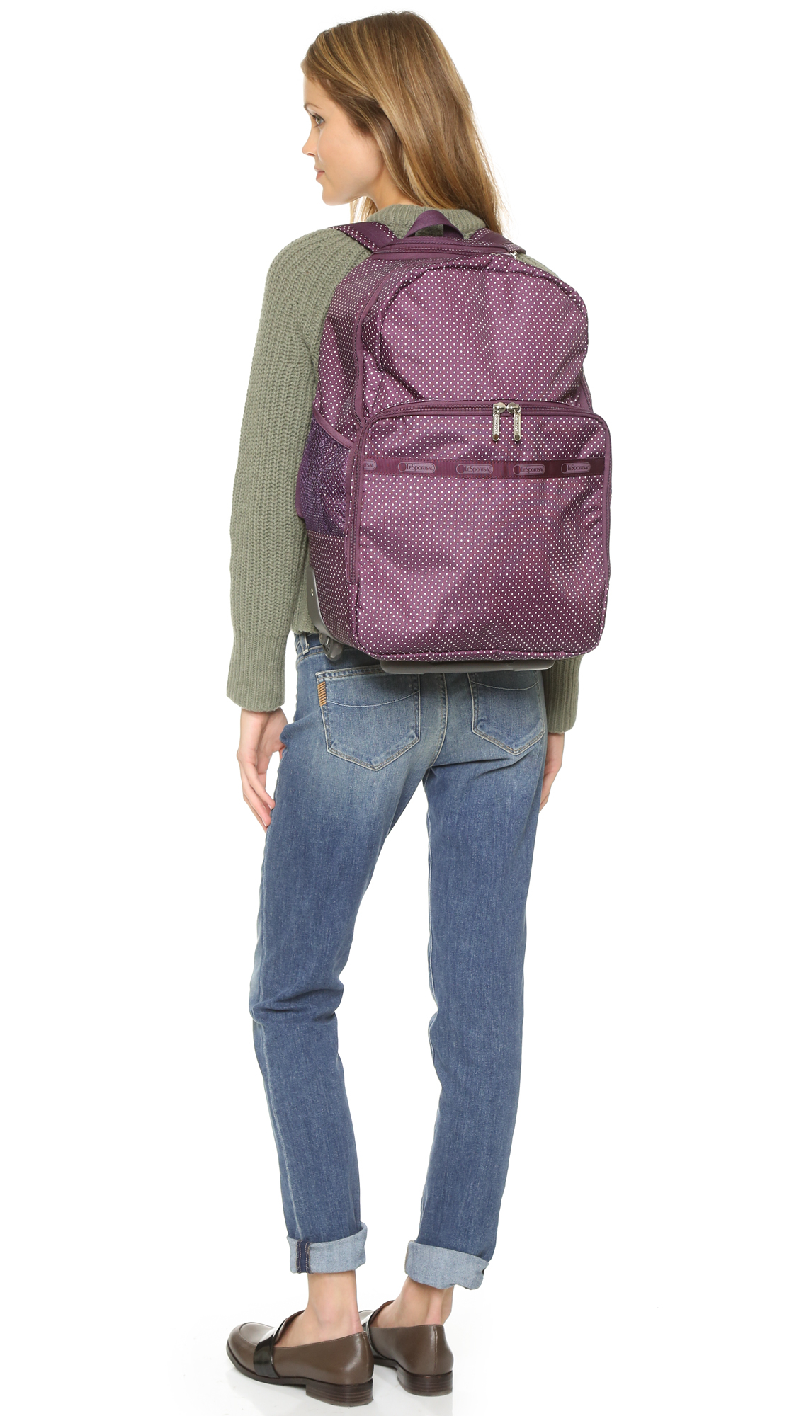 Lesportsac Rolling Backpack - Burgundy Pin Dot in Purple | Lyst