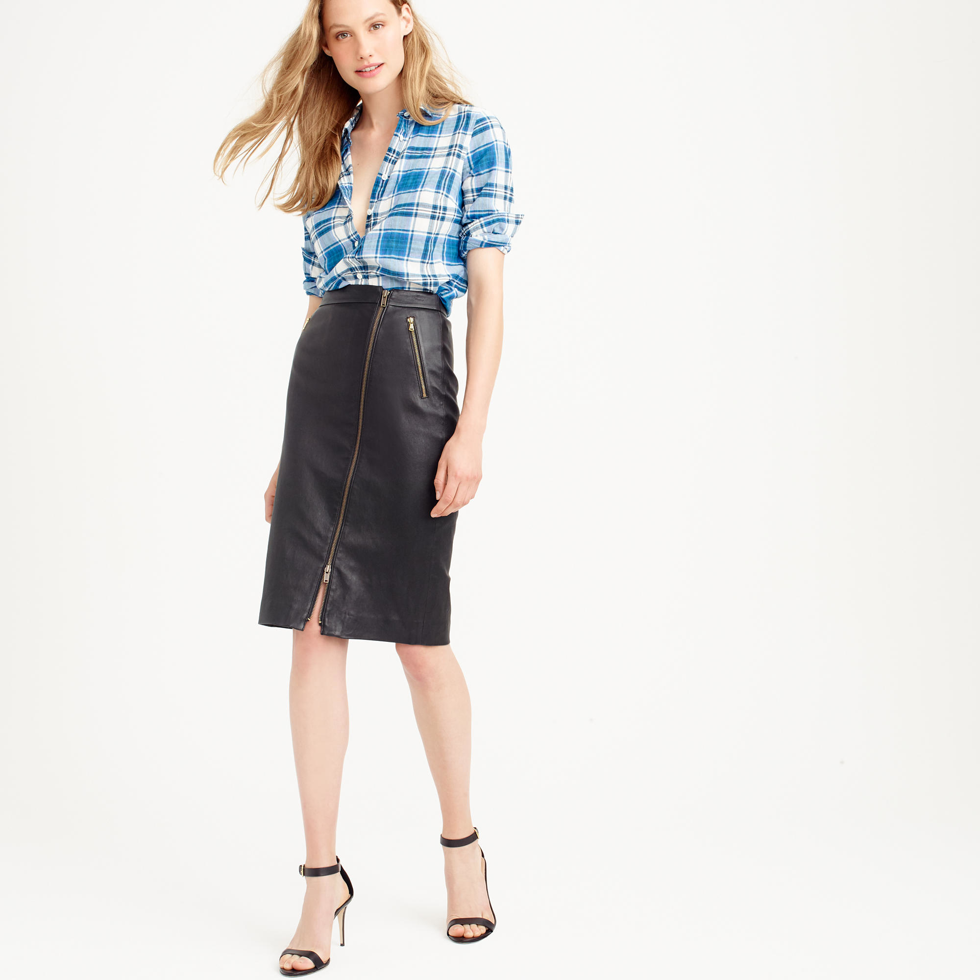 j crew collection leather motorcycle pencil skirt
