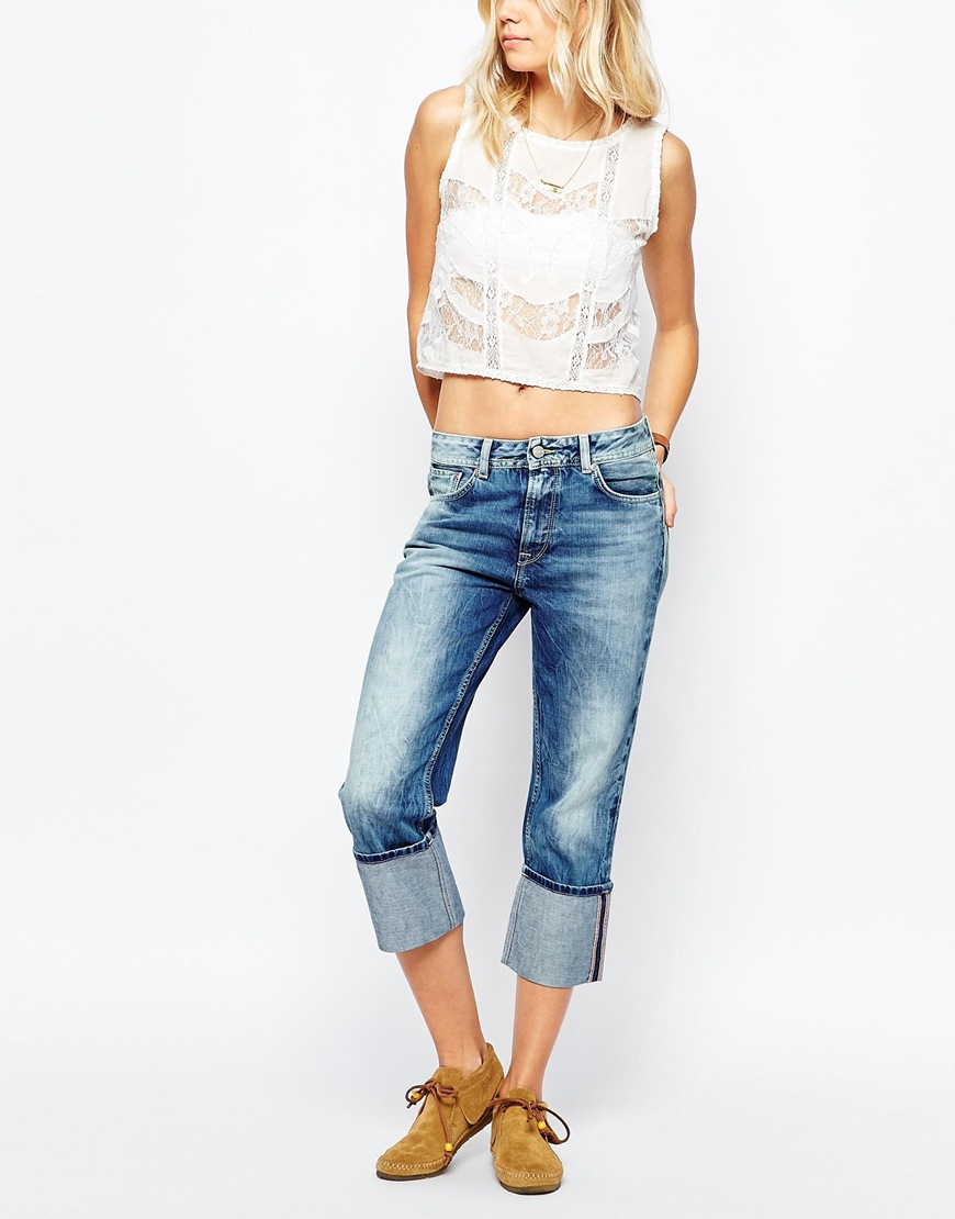 pepe jeans donna turn up loose fit jean in blue lyst. Black Bedroom Furniture Sets. Home Design Ideas
