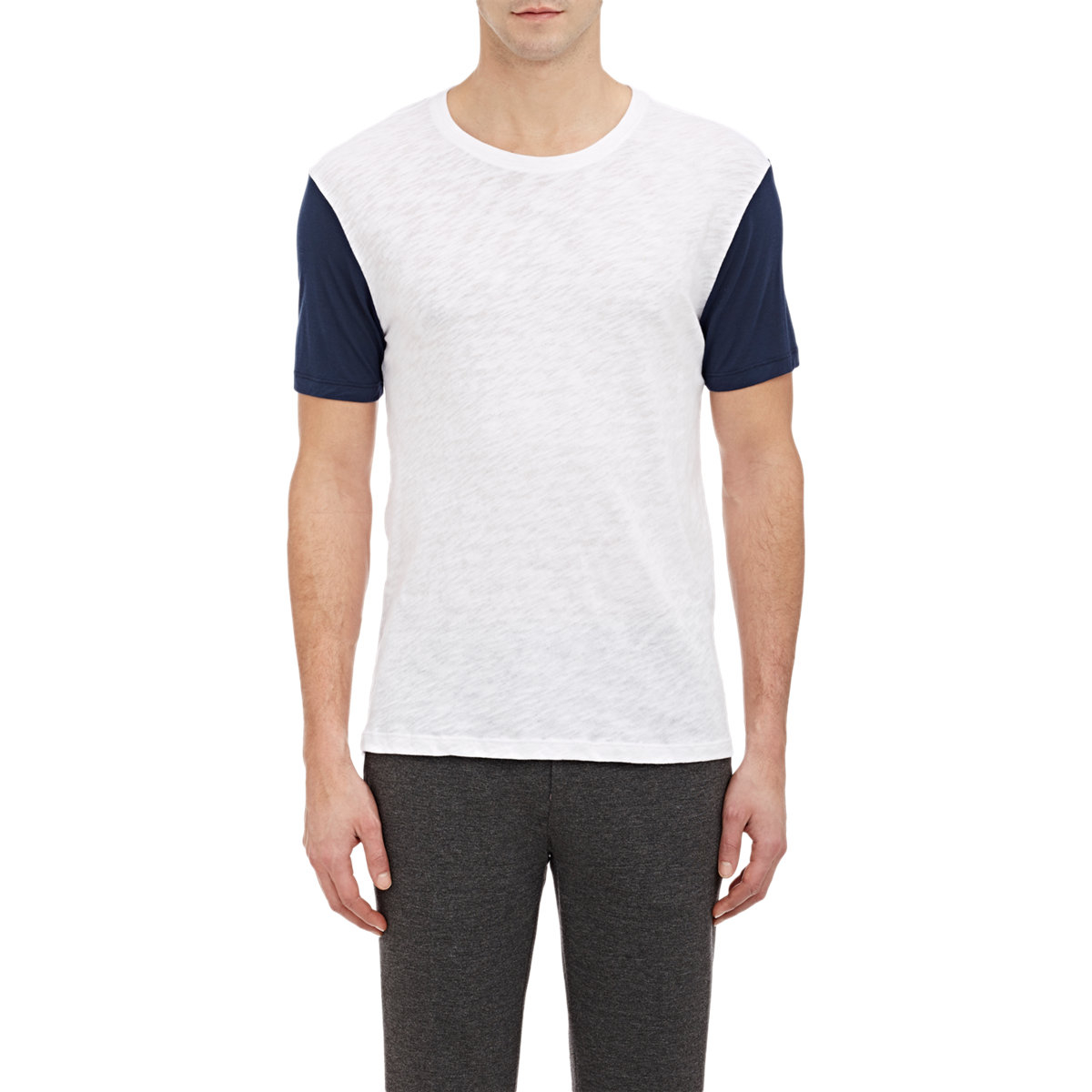 Atm jersey sleeve slub t shirt in blue for men lyst for Atm t shirt sale