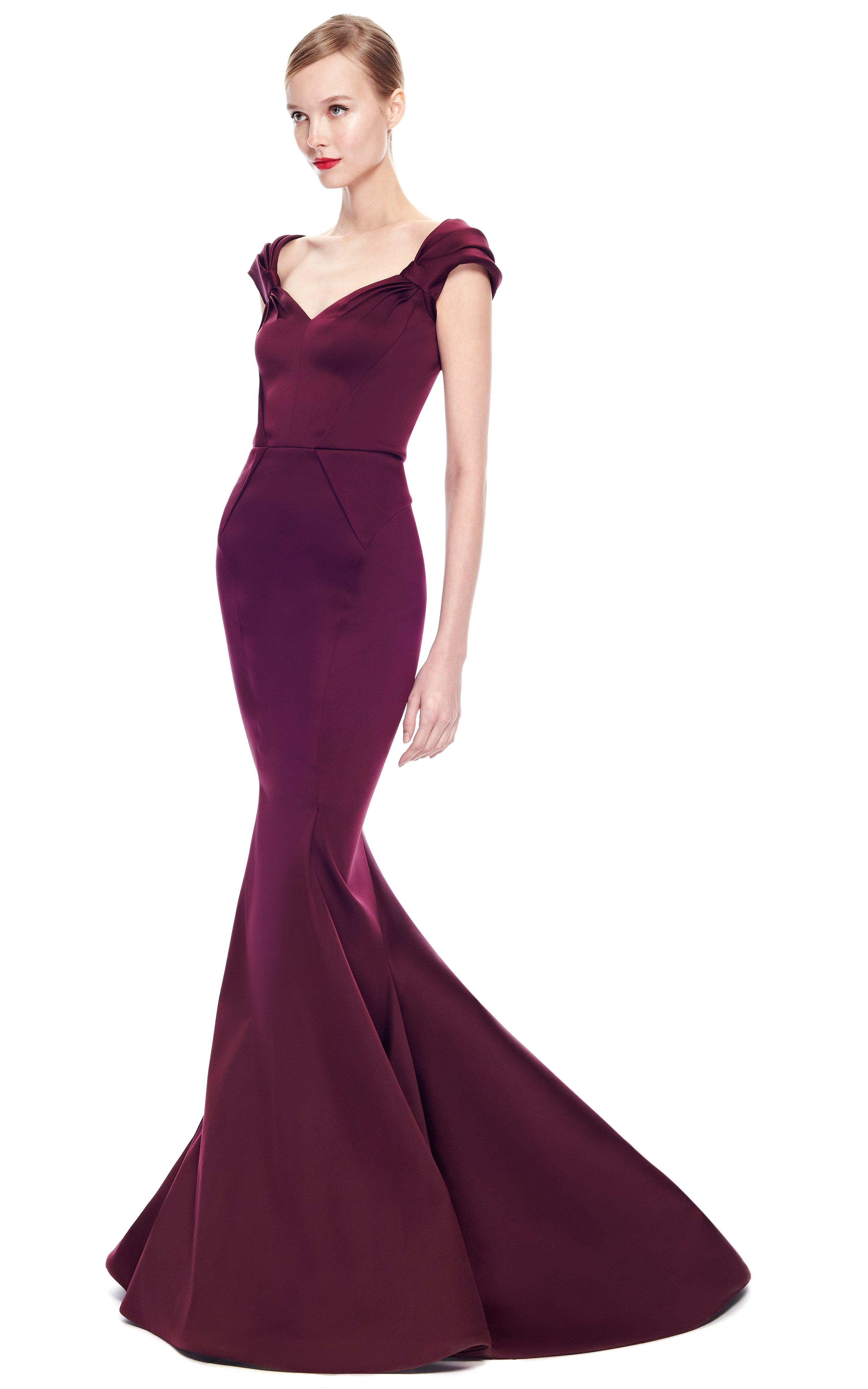 Zac Posen Stretch Duchess Offtheshoulder Gown In Purple Lyst