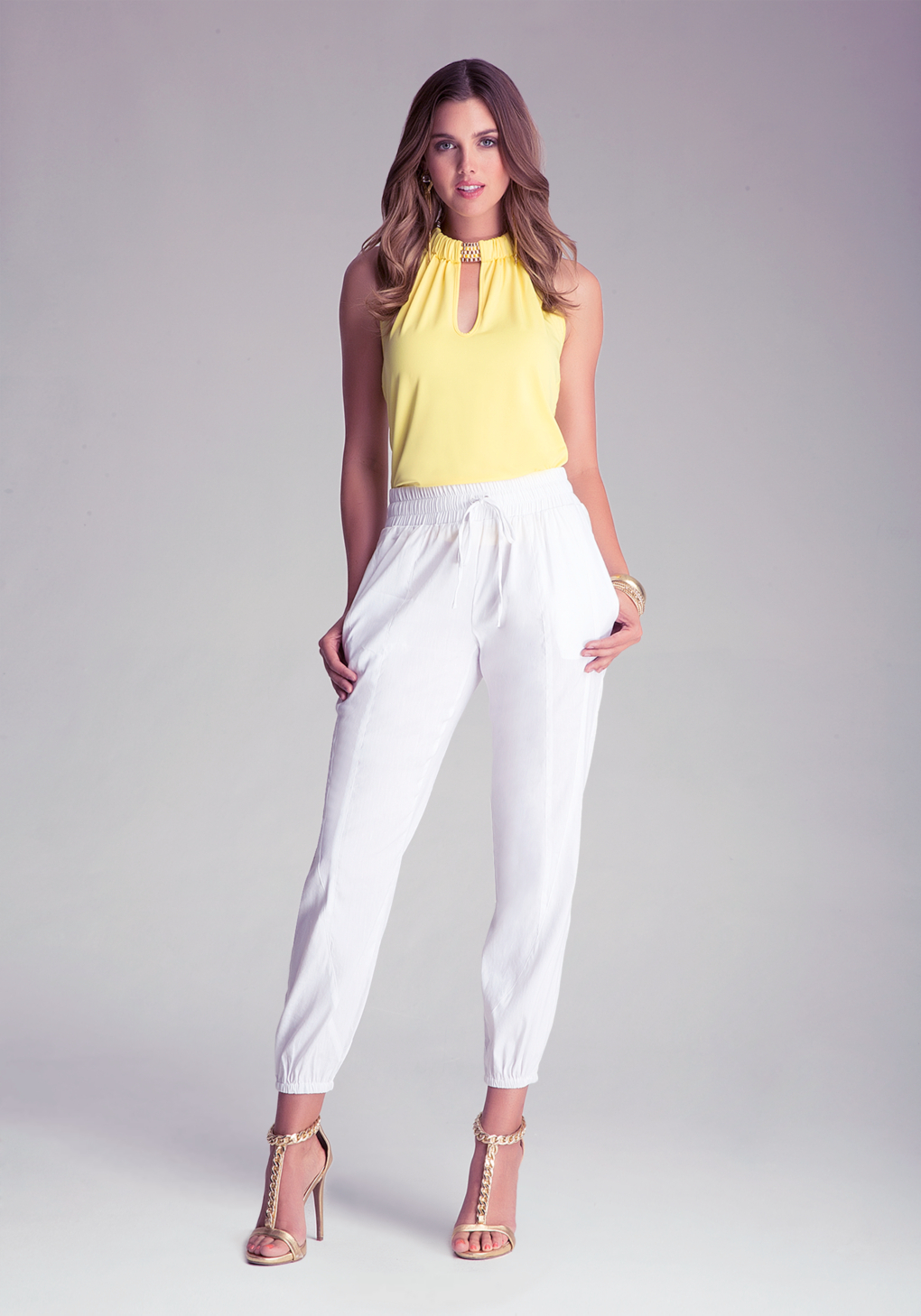 Bebe Drawstring Pants in White | Lyst