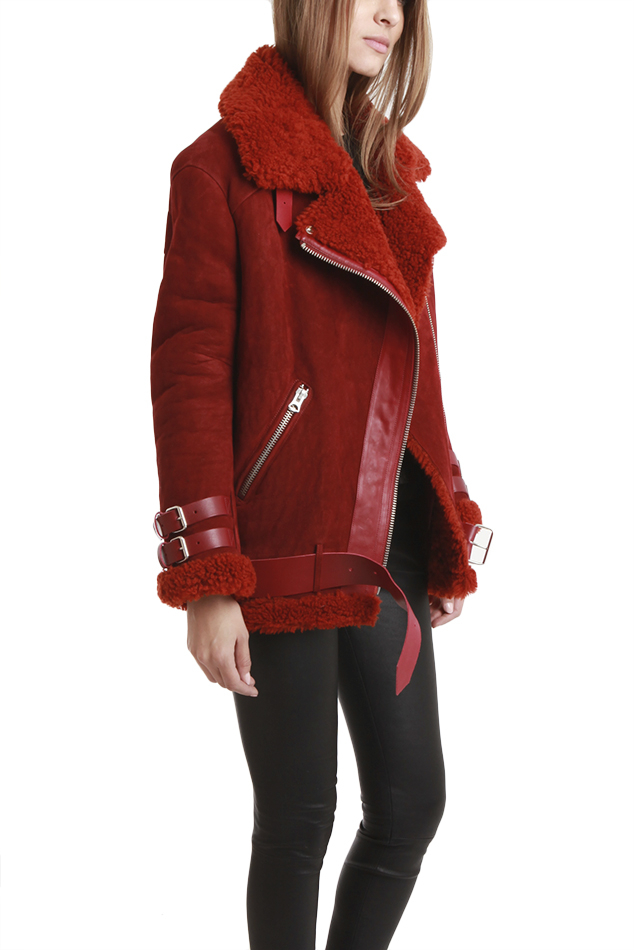 Acne studios Velocite Shearling Jacket in Red in Red | Lyst