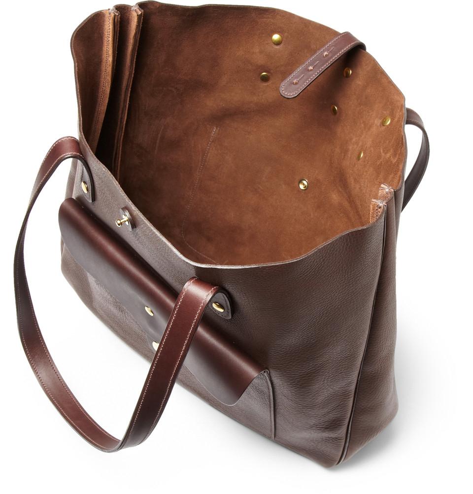 bill amberg hunter full grain leather tote bag in brown for men lyst. Black Bedroom Furniture Sets. Home Design Ideas