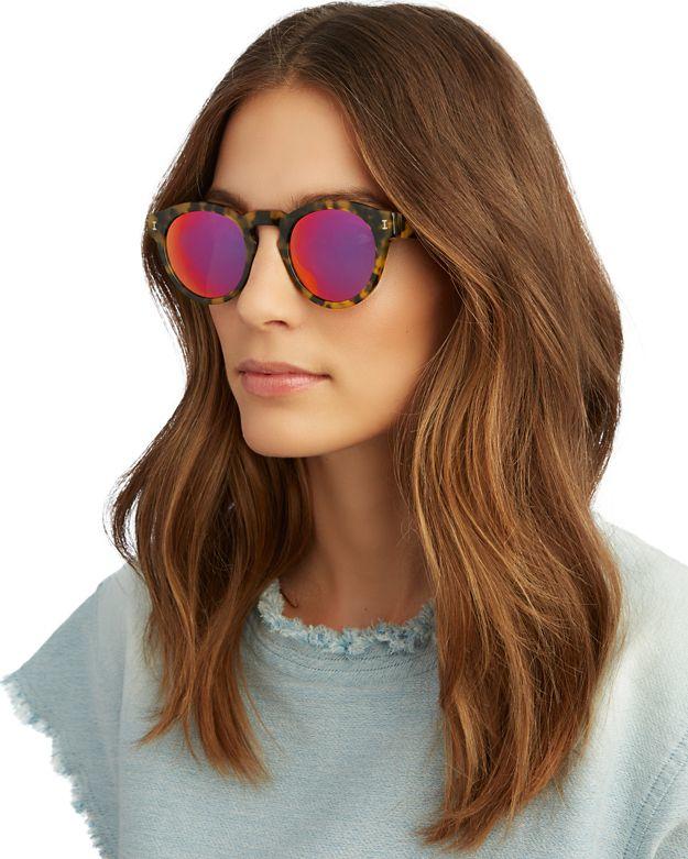c1786fc1ee0 Illesteva Leonard Pink Mirrored Lense Tortoise Sunglasses in Pink - Lyst