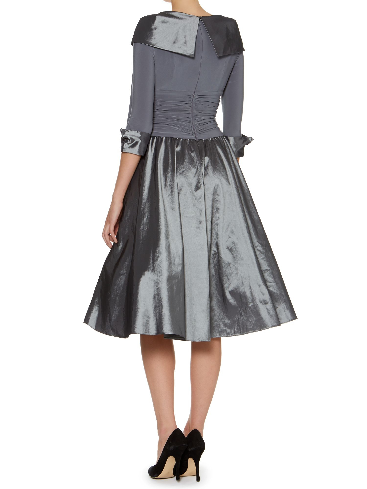 Eliza J 3 4 Sleeve Ruched Waist Dress In Metallic Lyst