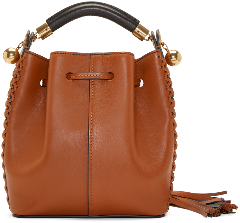 Chlo�� Brown Leather Cross_stitch Small Gala Bucket Bag in Brown | Lyst