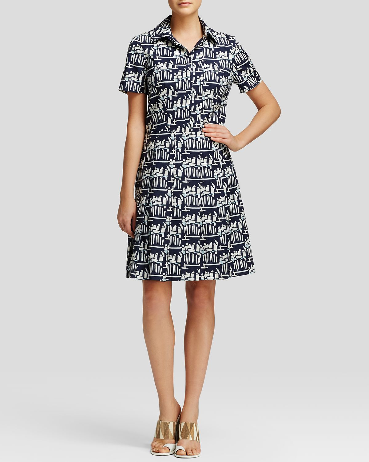 tory burch printed shirt dress in gray tory navy