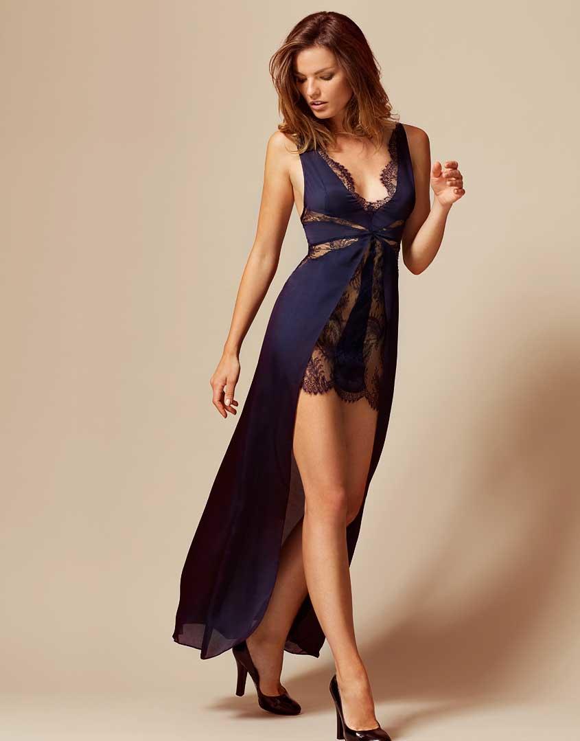 lyst agent provocateur justine dress navy in blue. Black Bedroom Furniture Sets. Home Design Ideas