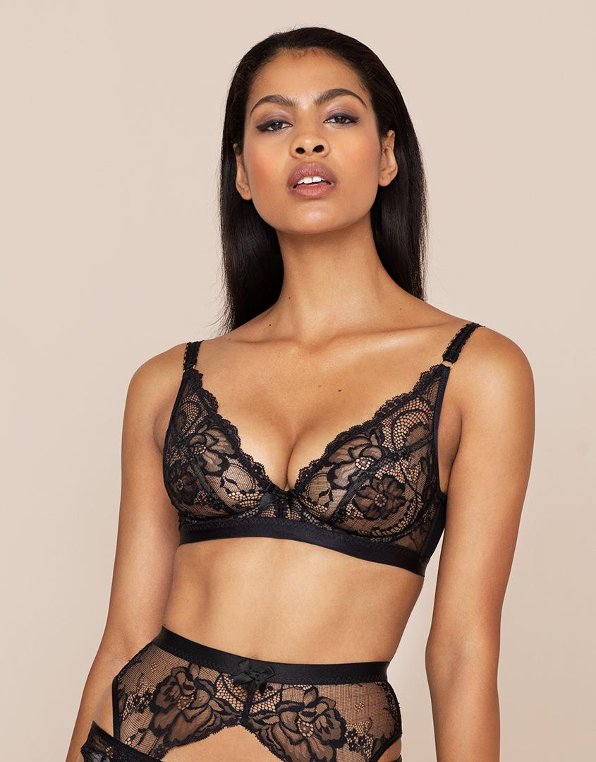 Lyst - Agent Provocateur Carmella High Apex Underwired Bra in Black 4f0c87a87