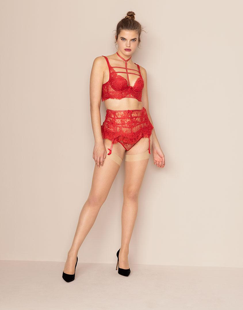 Agent Provocateur Davinah Suspender Red in Red - Lyst a6759a4c7