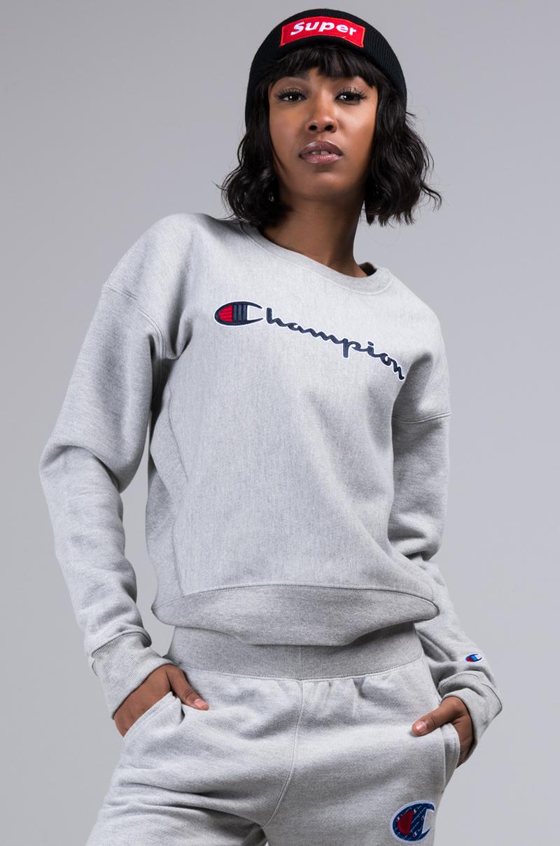 07a56c86d69f Champion Womens Reverse Weave Crew Sweatshirt With Chainstitch Logo ...