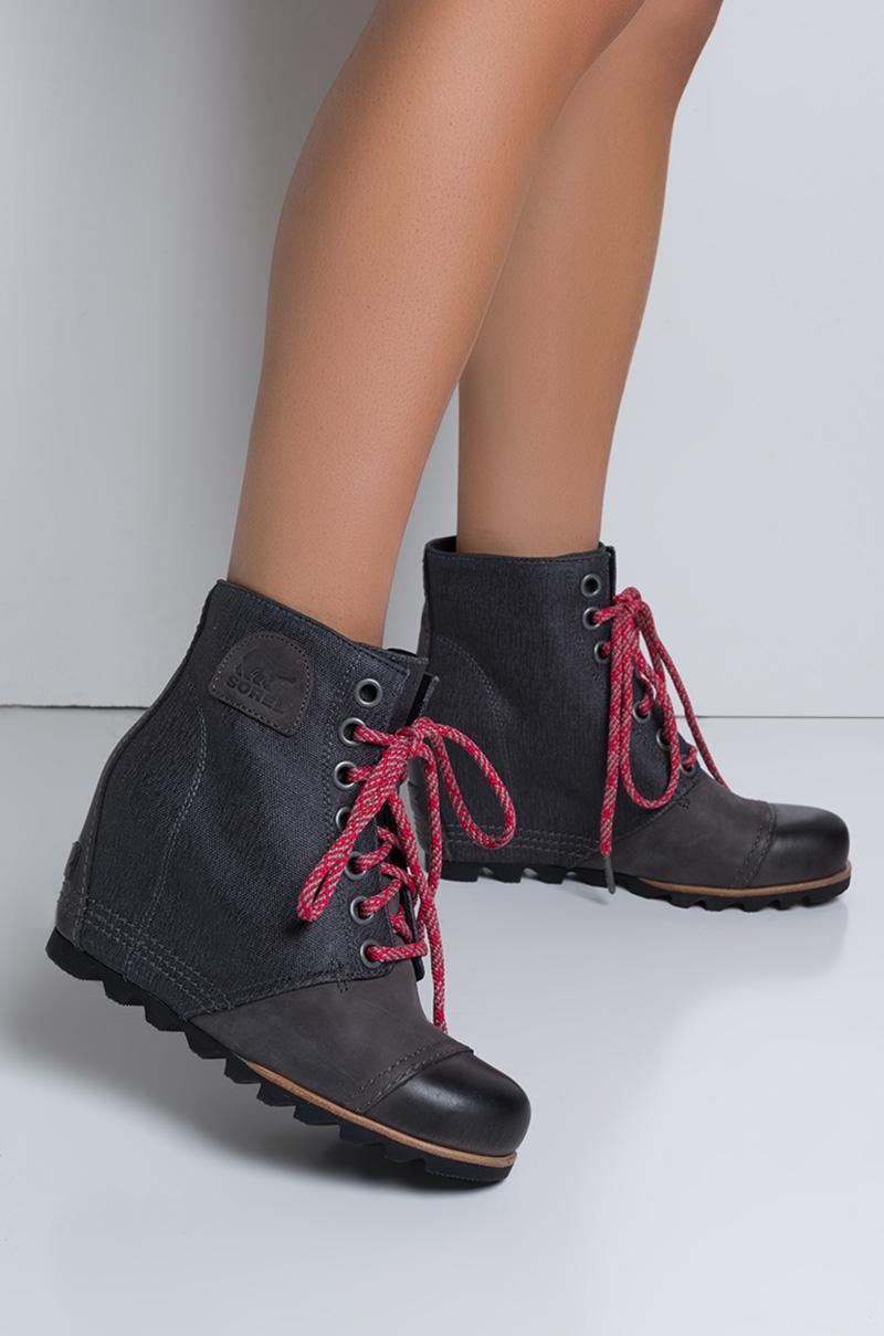 569114f6fff9c Sorel Pdx Waterproof Leather Wedge Booties in Gray - Lyst