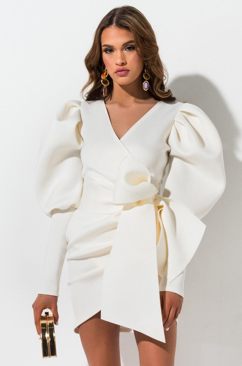 c2d204bab0 AKIRA Madly In Love Puffy Sleeves Mini Dress in White - Lyst