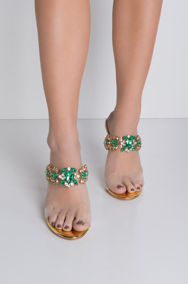 0421c10616 Cape Robbin Got That Bling Open Toe Jeweled Heels in Metallic - Lyst