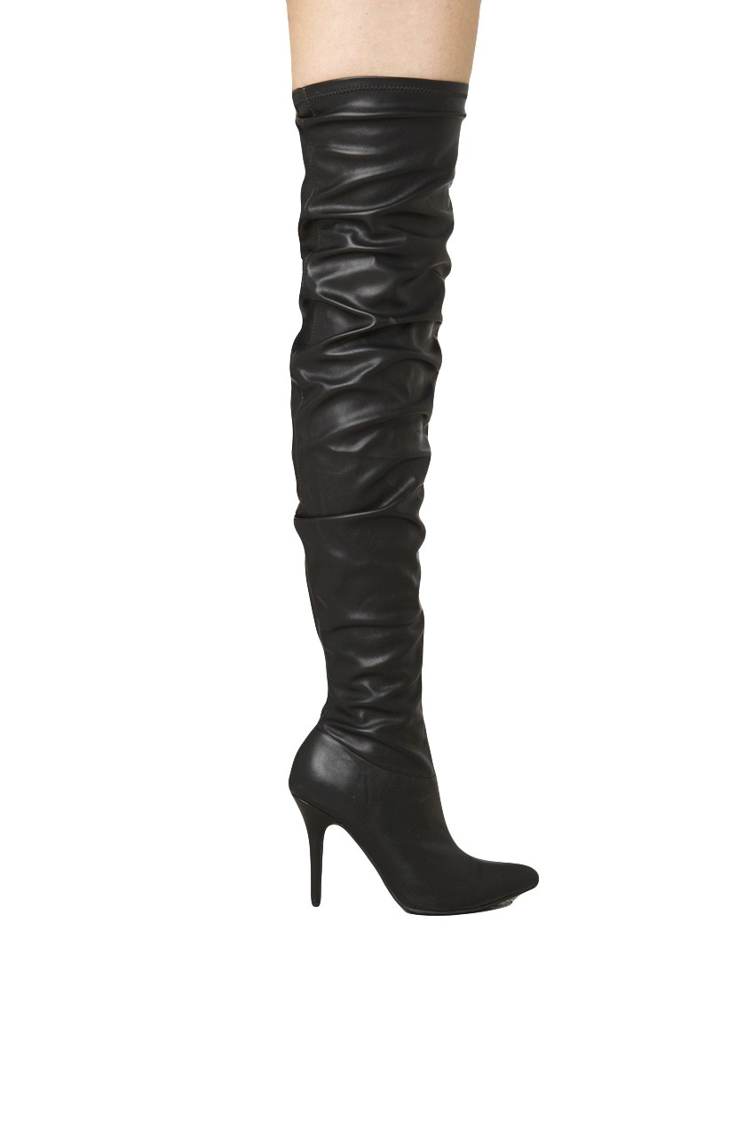 pointed toe thigh high slouch boots in black lyst