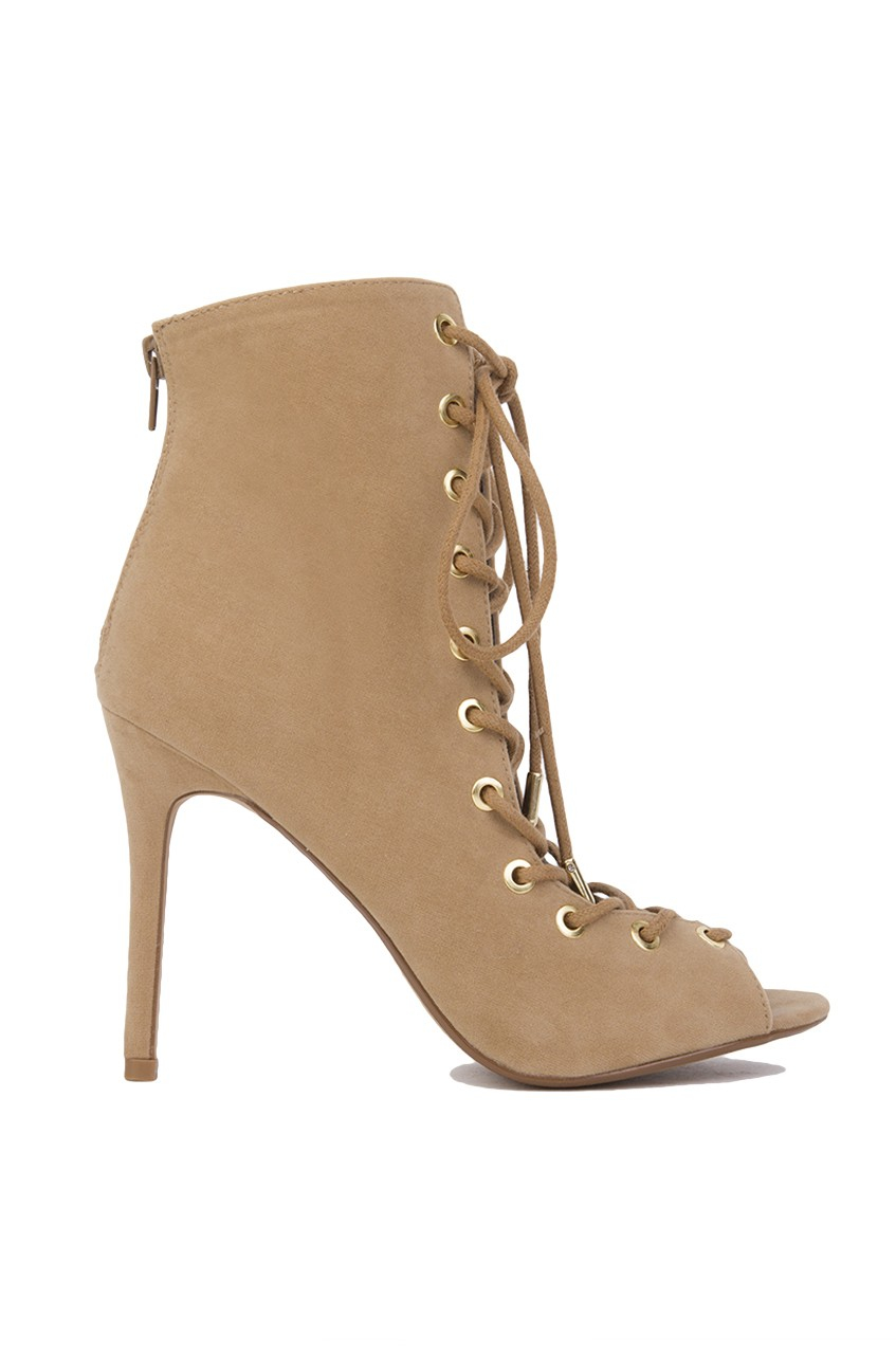 Akira Lace Up Peep Toe Ankle Bootie In Khaki Camel Suede