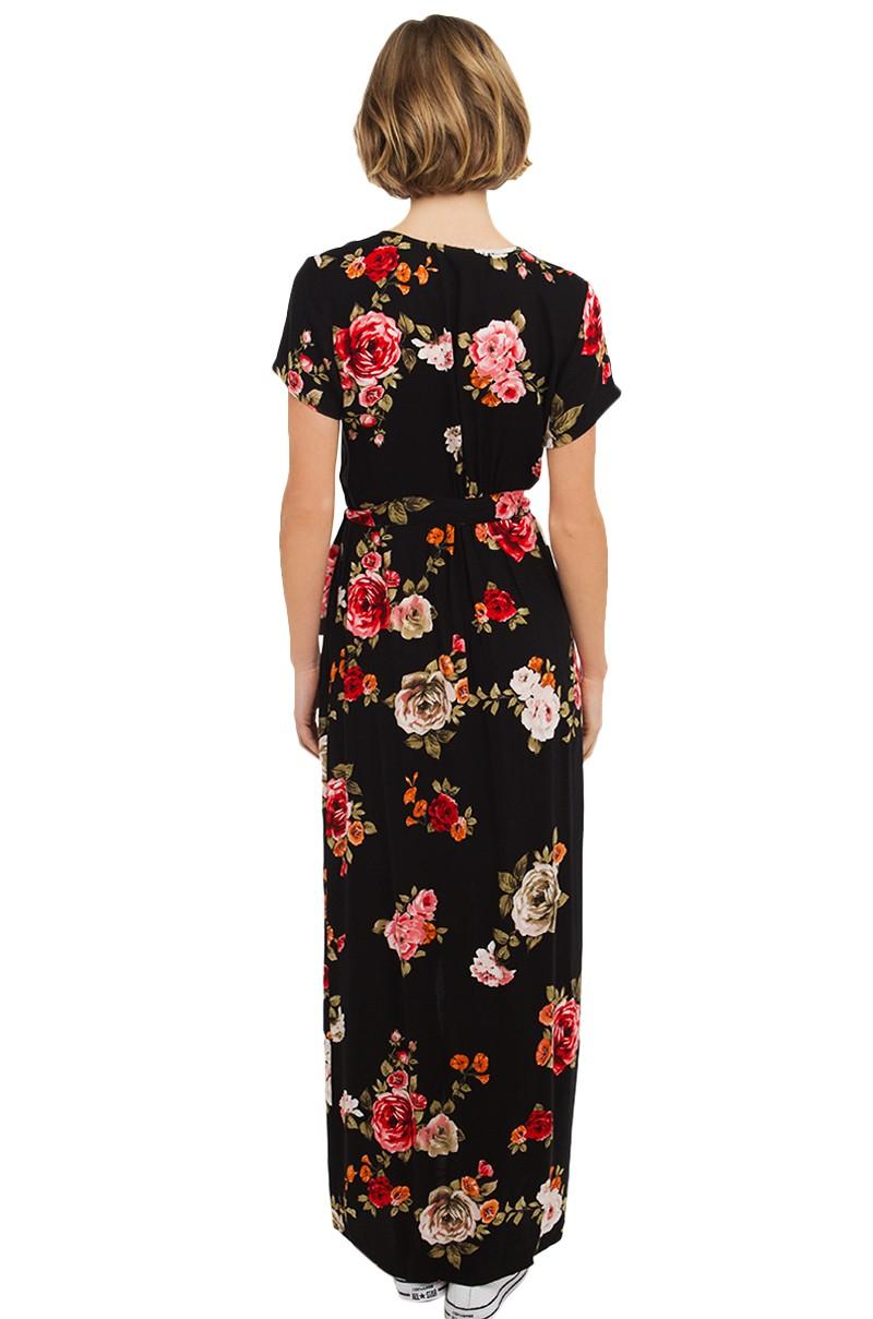 Lyst Akira Floral Print Jersey Wrap Dress In Black