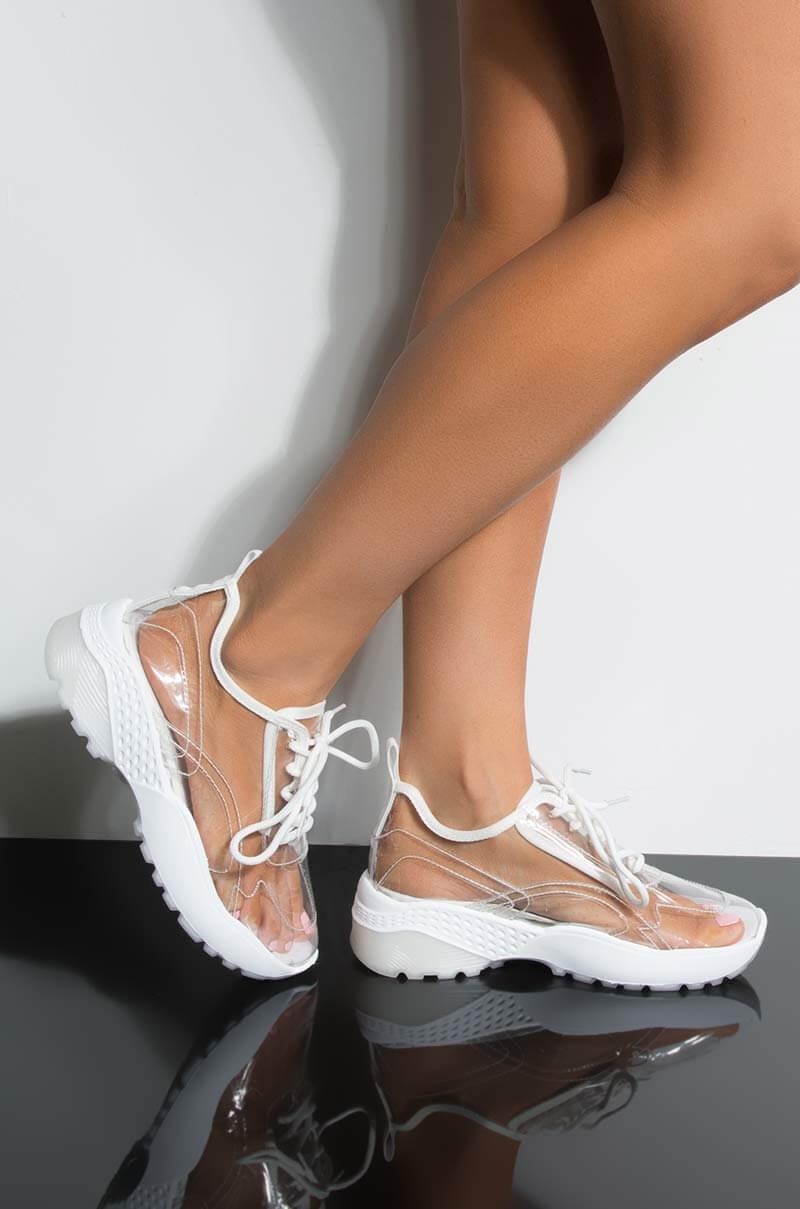 aabac4b0ed63 Lyst - AKIRA Nobodys Gonna Find Me Flat Sneaker in White