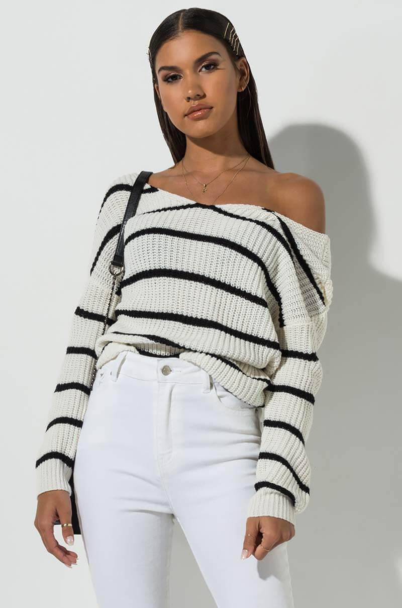 acd061a61c3 AKIRA Good Girls Dont Cry Stripe Sweater Top - Lyst