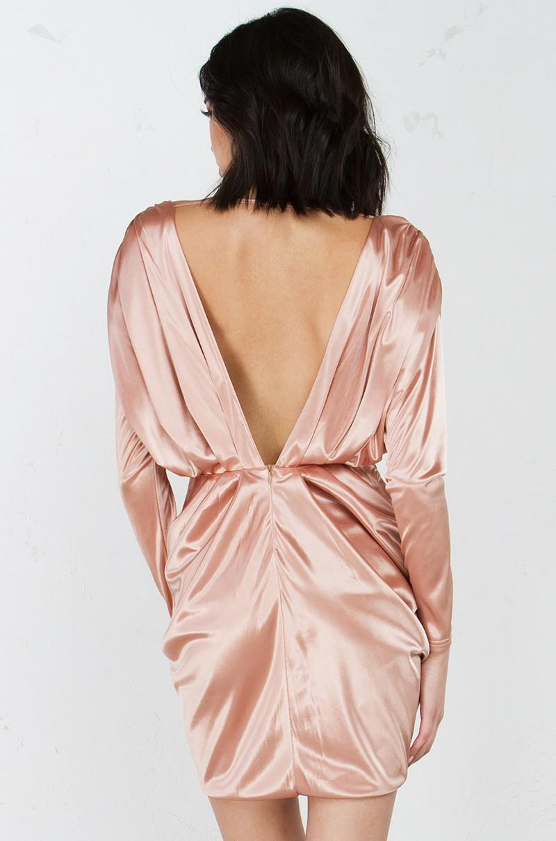 Akira make you mine deep v long sleeve satin dress in pink for Akira long sleeve shirt