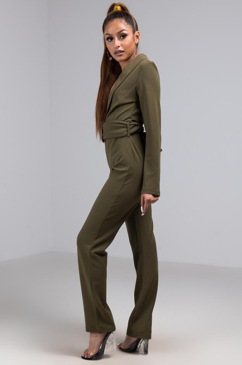 356a5ec85458 Akira - Green Unbothered Plunging Long Sleeve Belted Jumpsuit - Lyst. View  fullscreen
