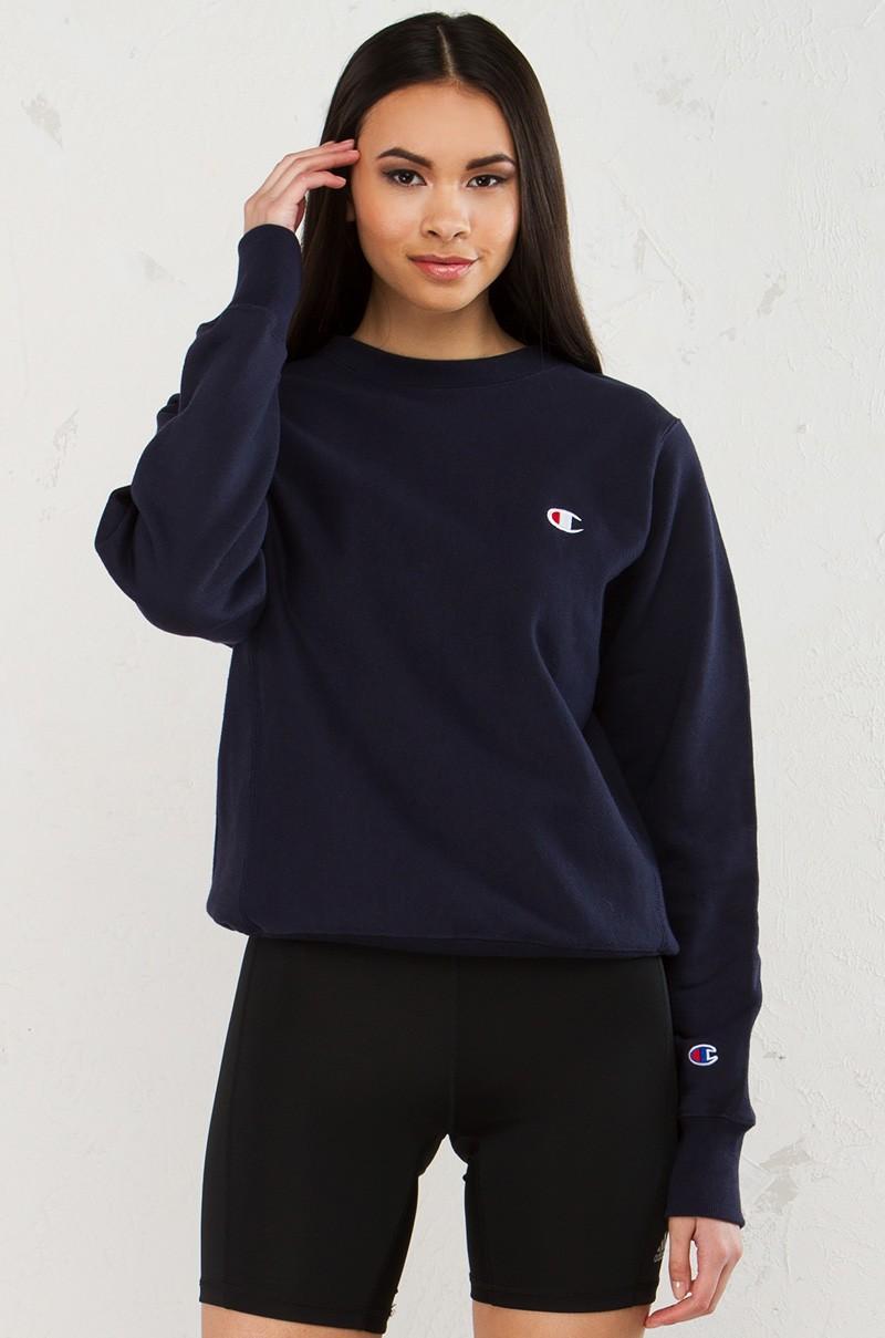 champion reverse weave crew sweatshirt in blue  lyst