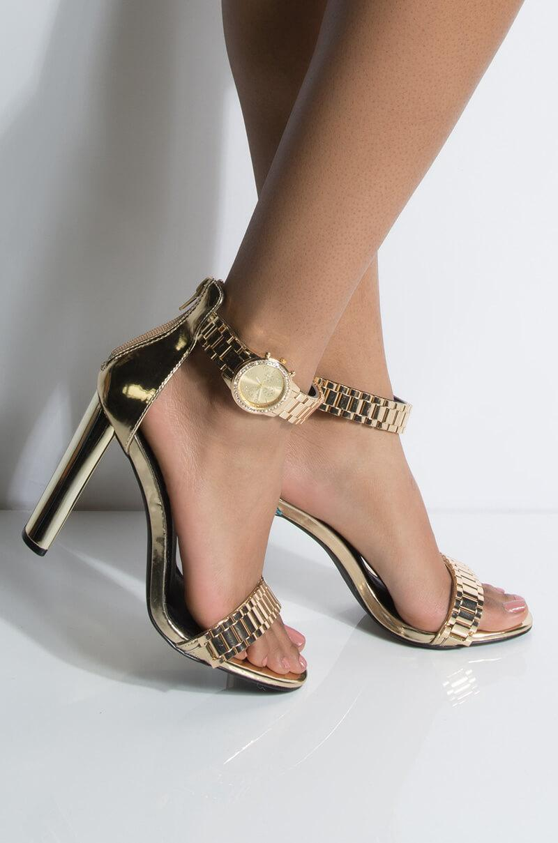 c243bcca91ec Lyst - Unk Tic Toc On The Clock Chy Heeled Sandal in Metallic