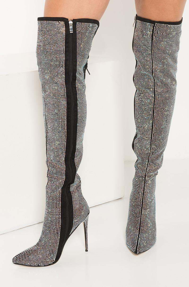bd6bfdd2d89 Lyst - AKIRA You Should Be Dancing Rhinestone Thigh High Stiletto ...