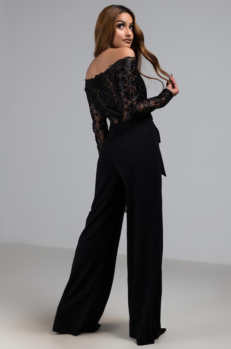 63a8be9bb49 Lyst - AKIRA Dress Me Up Off Shoulder Lace Jumpsuit in Black