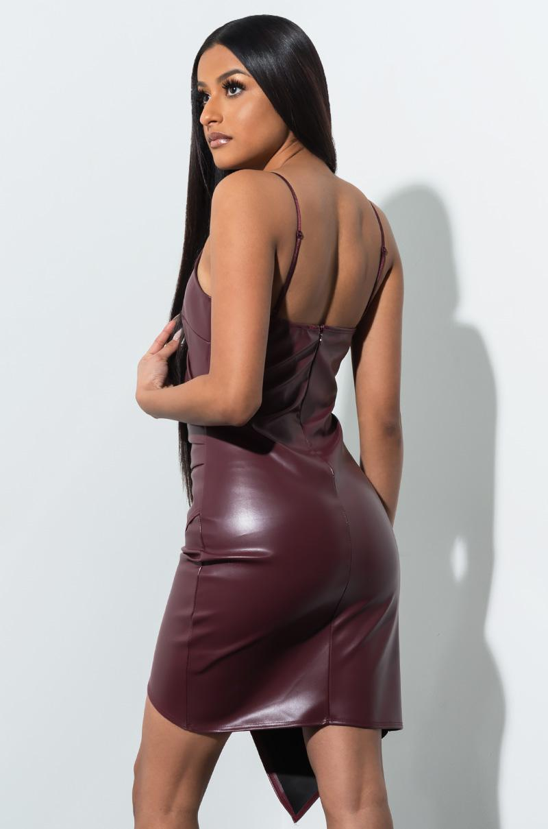 7d5c61657b Lyst - AKIRA Find My Way Pleather Mini Dress in Purple