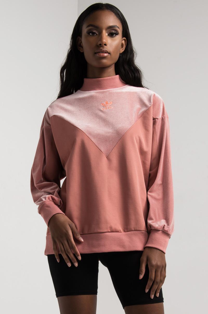 ad3d025e02a2 Lyst - adidas Women s Vv Bf Crew Neck Velvet Sweatshirt