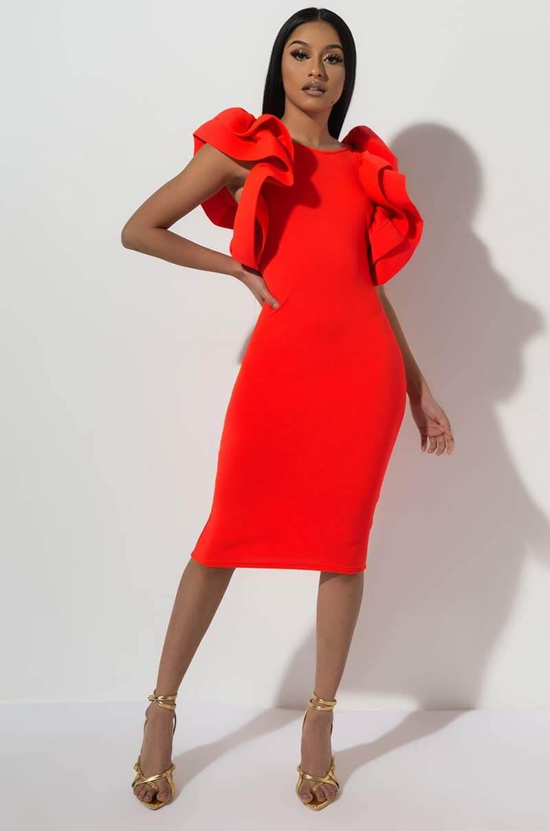 b8b5dba4a1 Lyst - AKIRA Pass The Hours Ruffle Midi Dress in Red