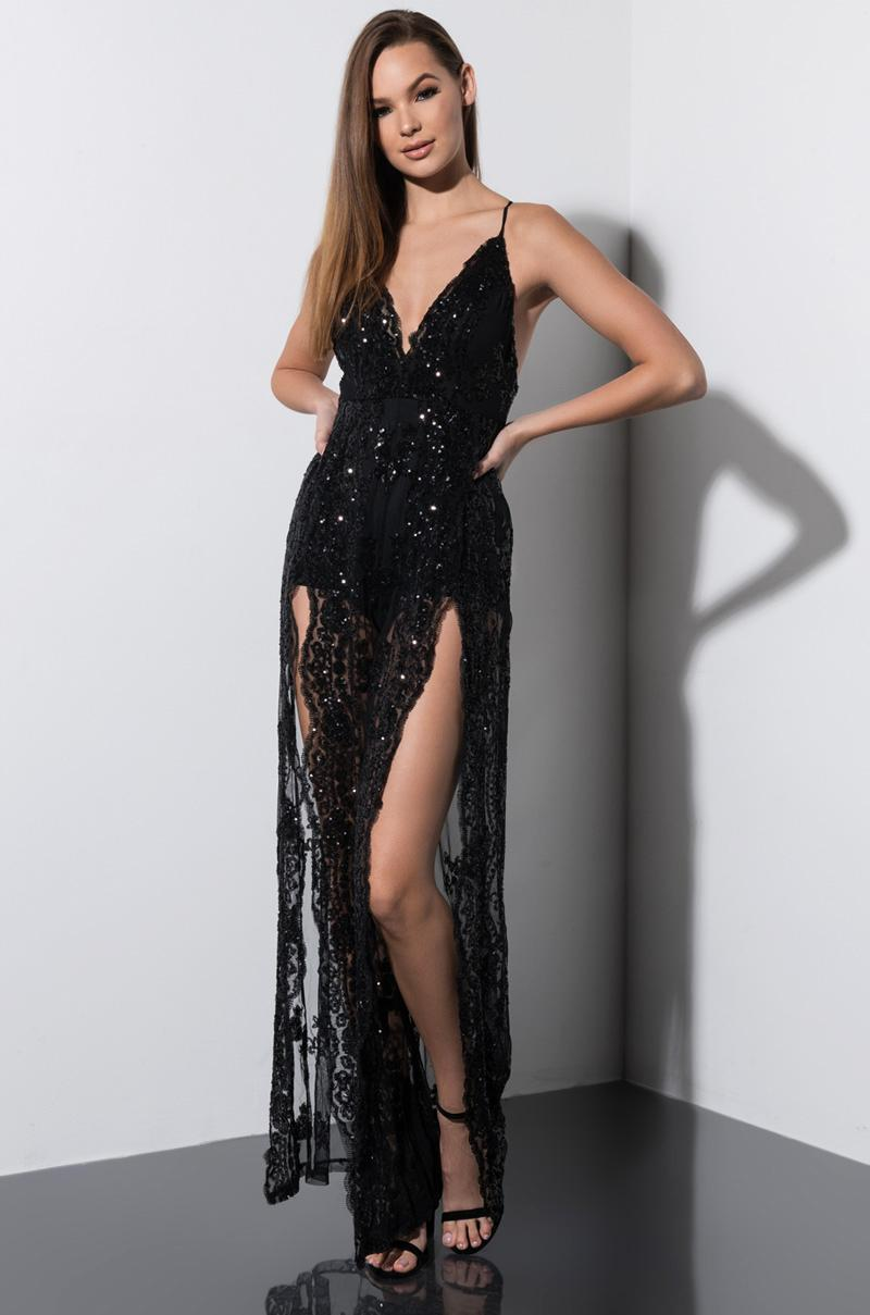 964aedd0ce7 Lyst - AKIRA The Supreme Queen Sequin Jumpsuit in Black