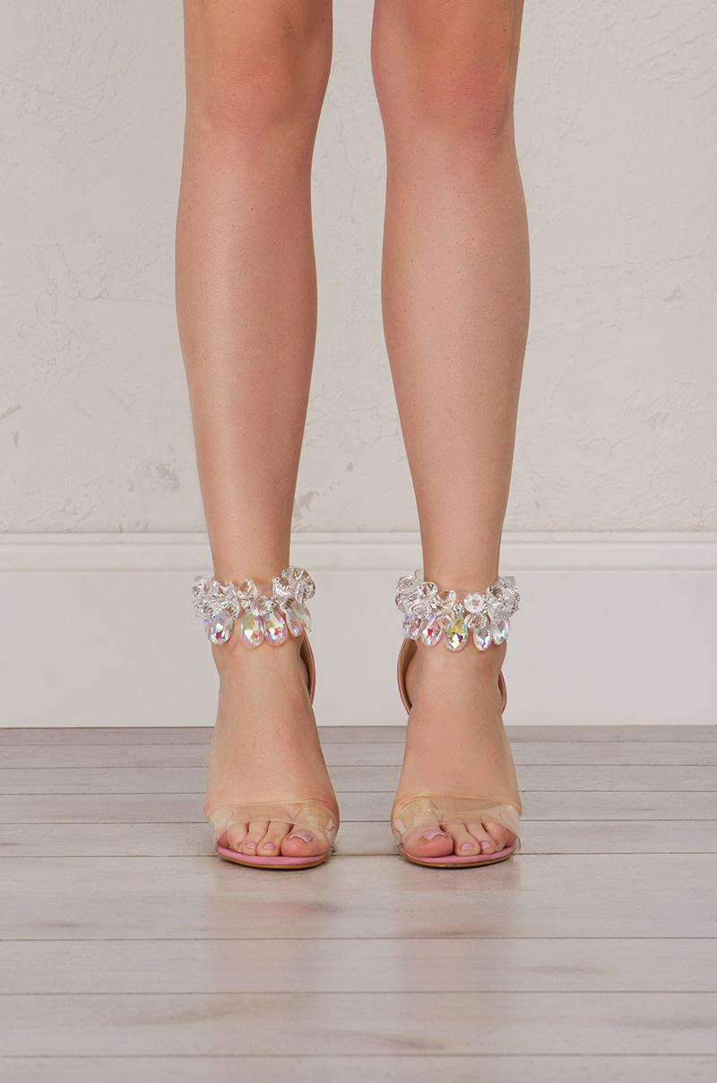 09d947f0132b9 Lyst - AKIRA Got Cash Bling Bling Strappy Heeled Sandals in Pink