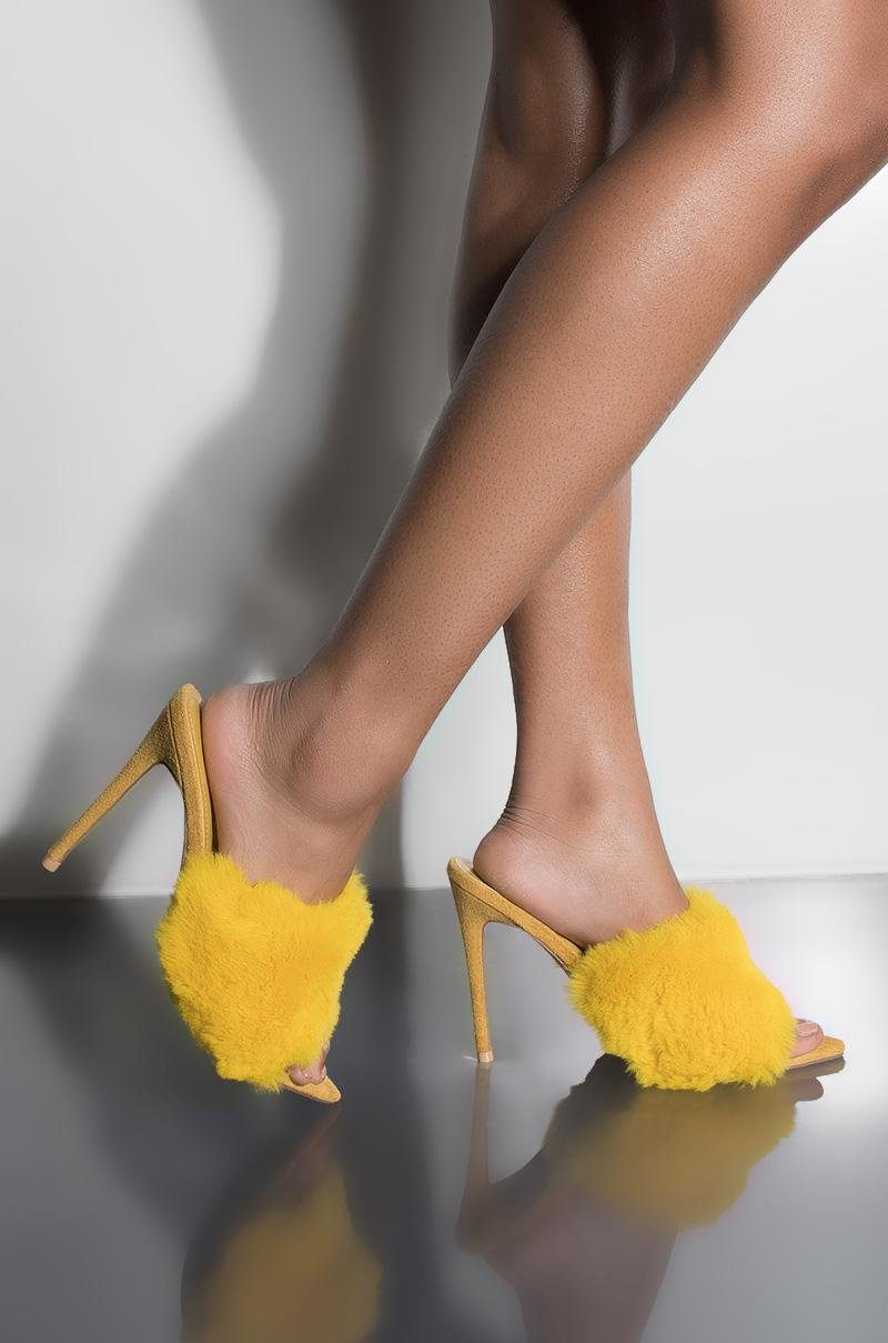 d5377947b0c2 Cape Robbin Cute Or Whateva Fur Heeled Sandal in Yellow - Lyst