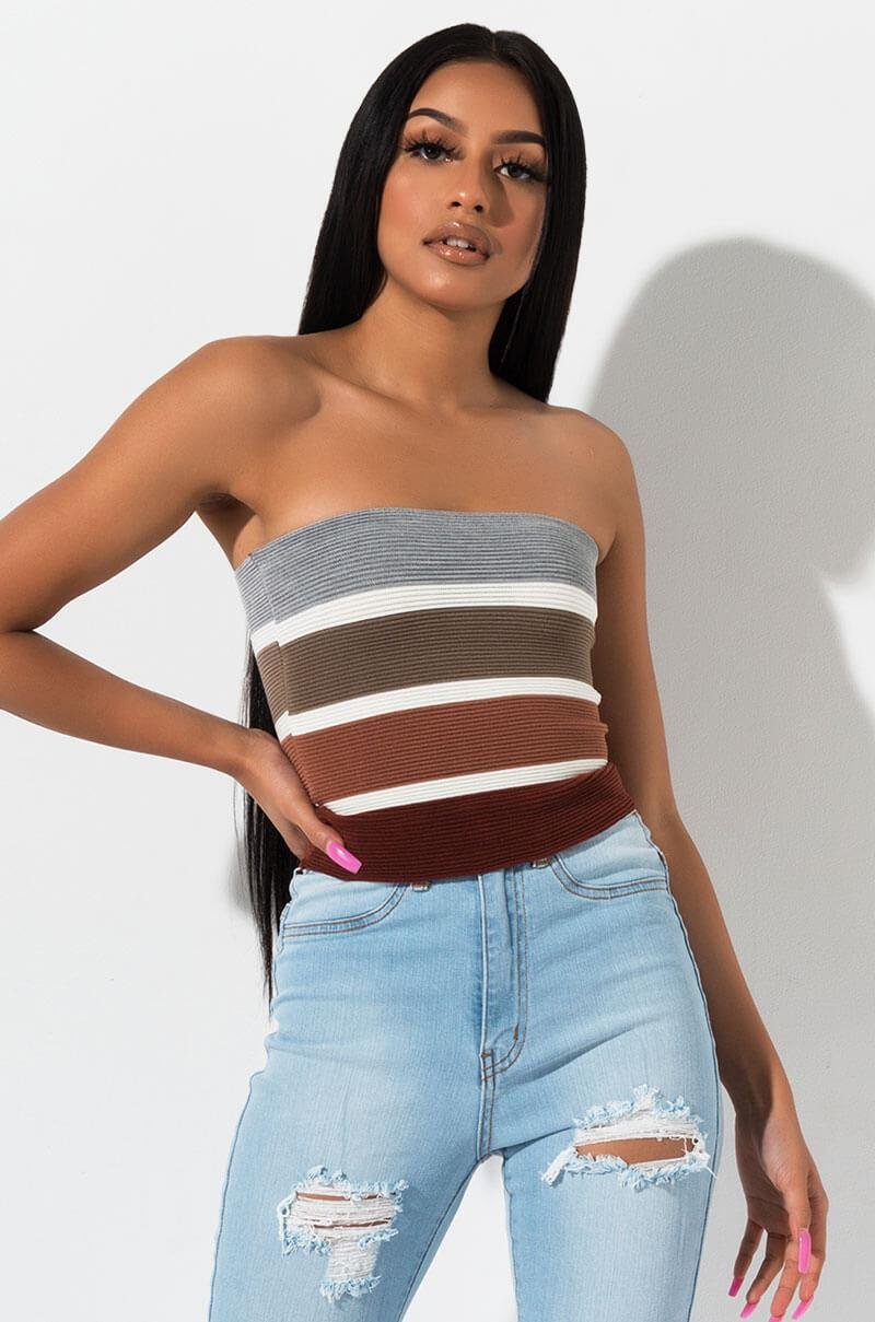 0fc959c13f1f Lyst - AKIRA Give A Little Strapless Crop Top in Gray
