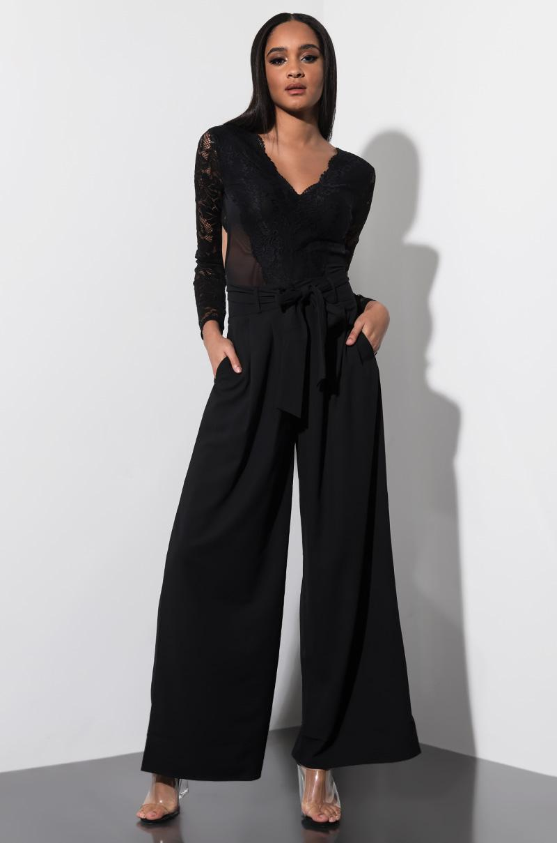 1c8c2929b7 Akira Be Careful With Me Pleated Wide Leg Trousers in Black - Lyst