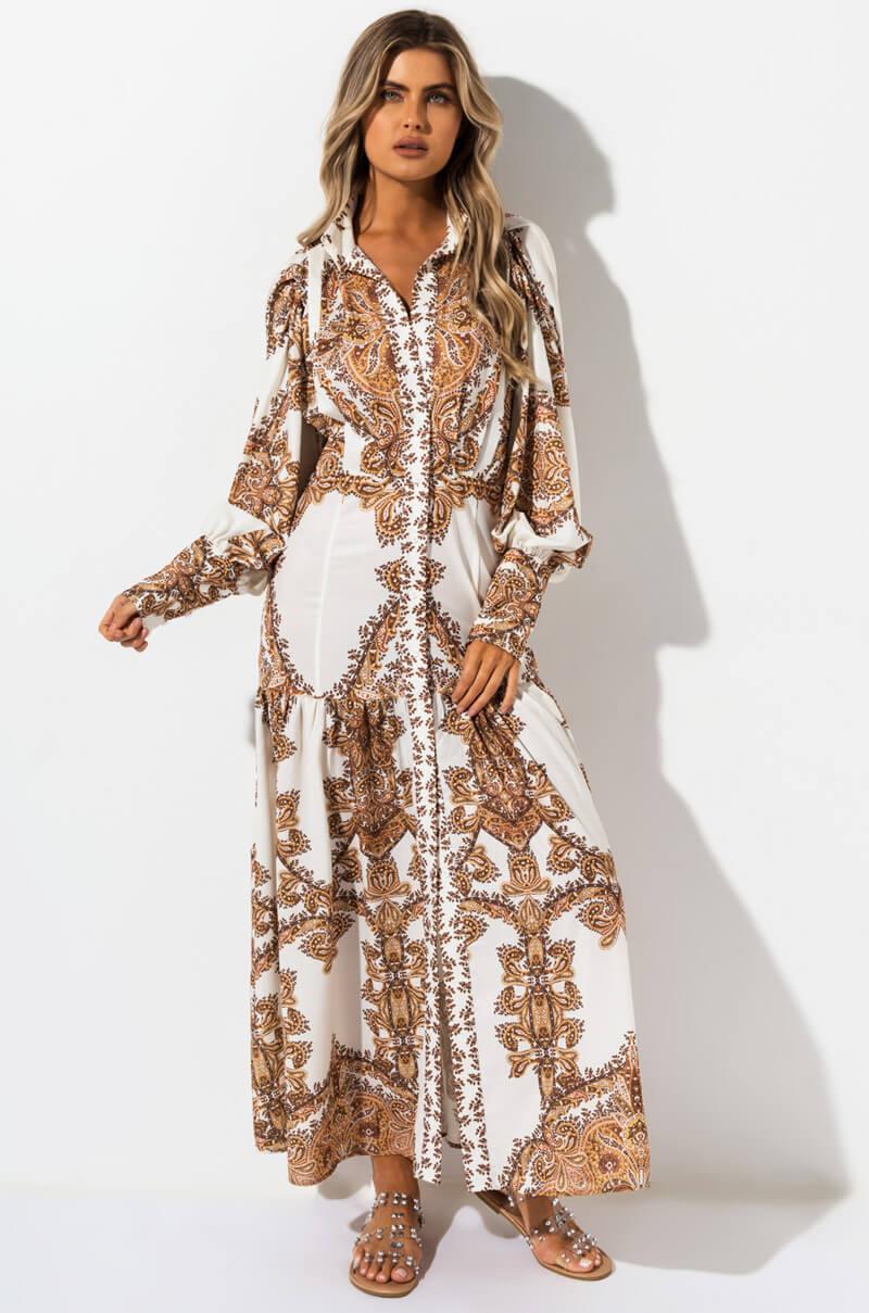 67646a8c5fa AKIRA I m Just Sayin Paisley Maxi Dress in Brown - Lyst