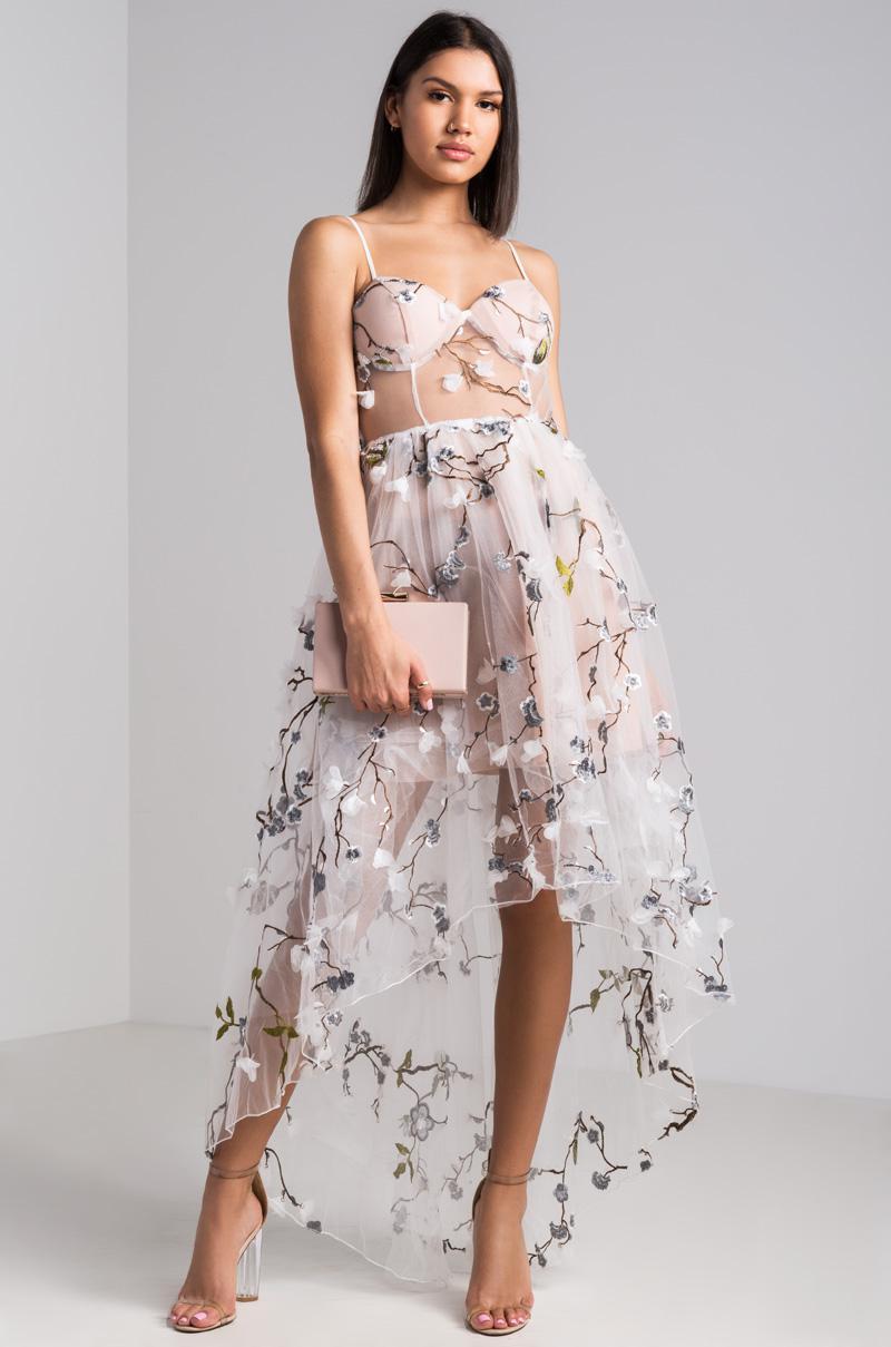 7ab0ff51 AKIRA Marika Sheer Embroidered Hi Lo Dress - Lyst