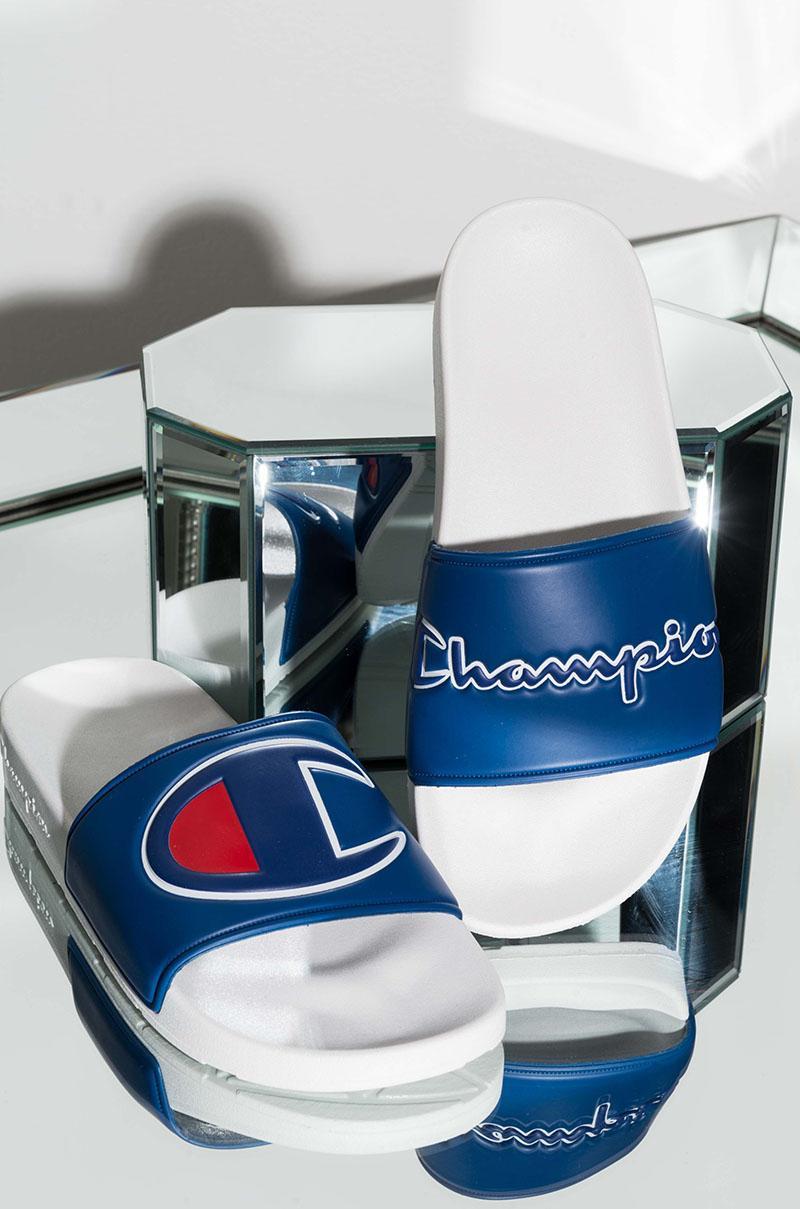 d2b66829d591 Champion Womens Ipo Script And Big C Logo Slide Sandal - Lyst