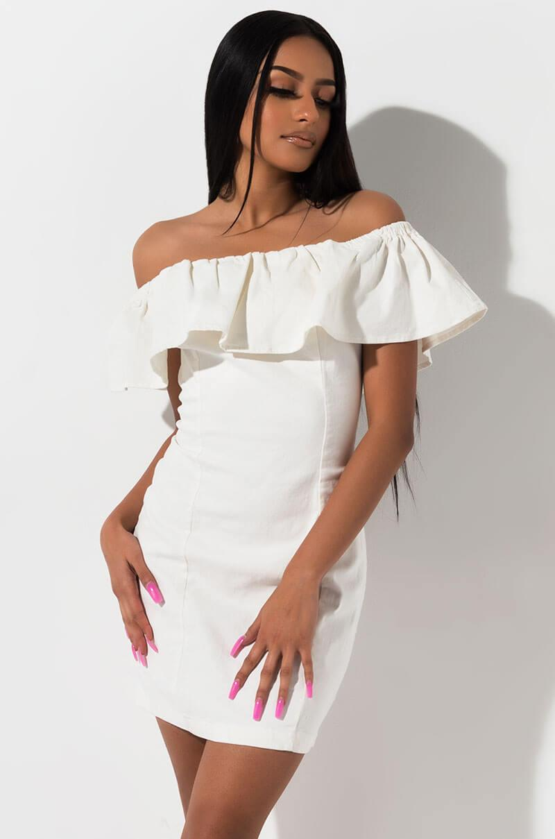 026e71b6fc93 Lyst - AKIRA Hey There Strapless Denim Dress in White