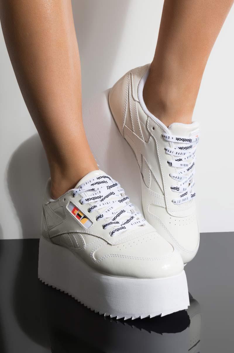 11e1744535e Reebok - Gigi Hadid X Cl Leather Platform Sneaker In White Patent - Lyst.  View fullscreen