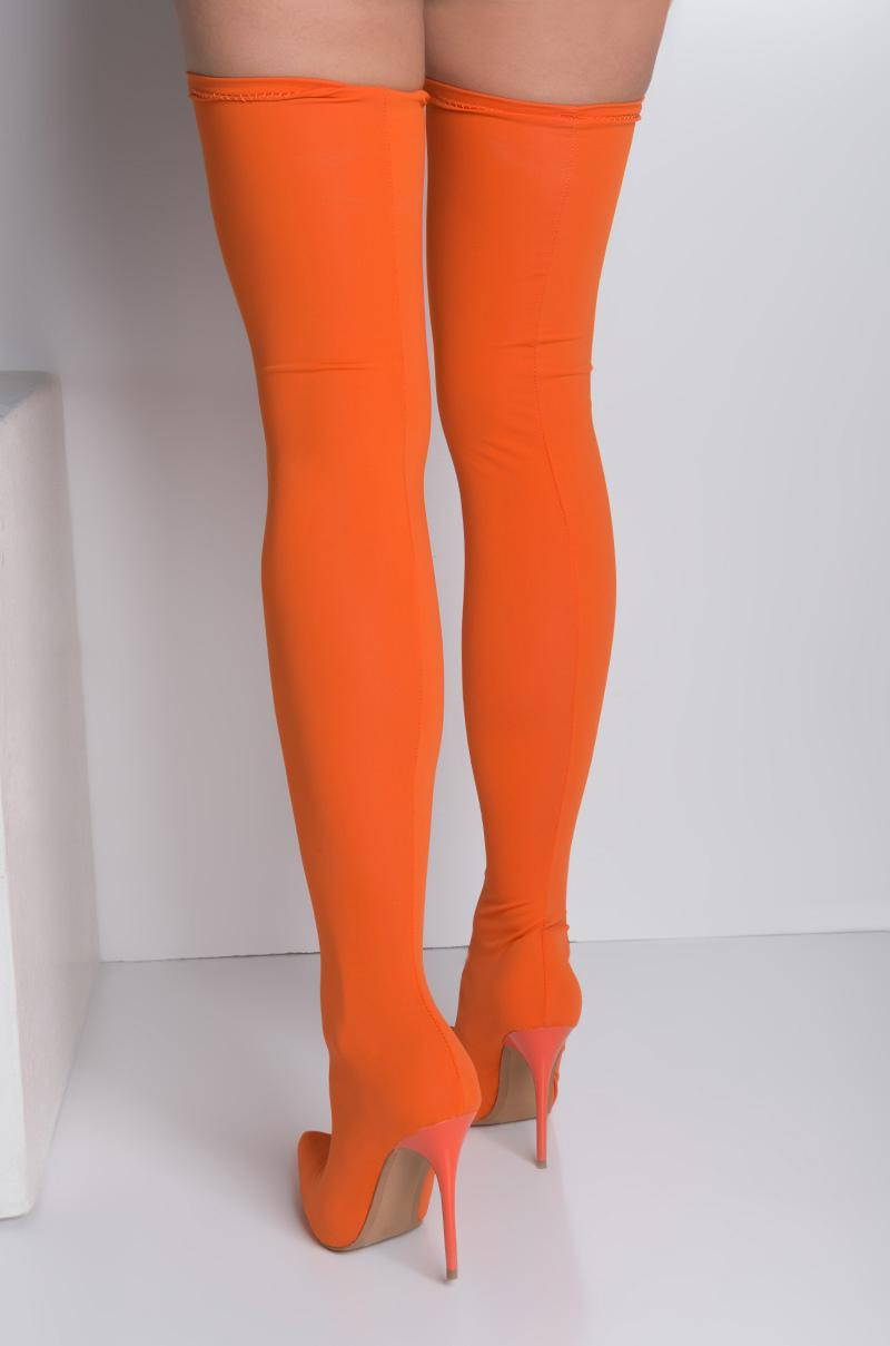 los angeles elegant shoes special discount of Akira Orange Swear Up And Down Over The Knee Boots