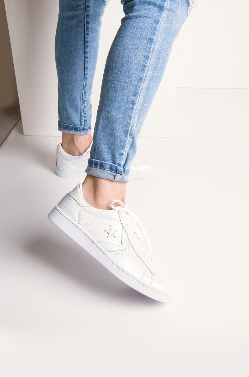 d9c6161f2d16 Lyst - AKIRA Converse Pro Leather Iridescent Low Top Sneaker in White